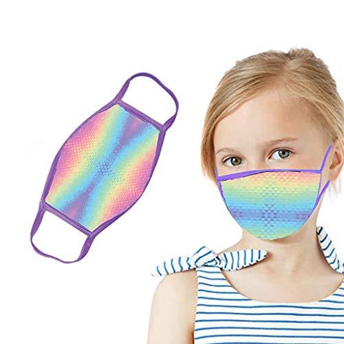 HOUMENGO 1/3 Stück Kinder Mundschutz, Schule Mundschutz Pack, Multifunktionstuch Niedlich Druck Mundschutz, Waschbar Atmungsaktive Baumwolle Mund-Nasenschutz für Jungen Mädchen (1 Stück- C2)