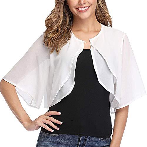 Ladiery Chifón de manga corta para mujer con frente abierto, Bolero, cárdigan de noche, para boda, camisa - blanco - Medium