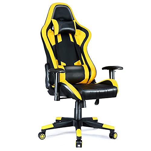 HaoLi Gaming Stuhl, Videospielstuhl Racing Style Computerstuhl mit Kopfstütze & Lendenwirbelstütze Ergonomischer Bürostuhl Verstellbarer Drehstuhl mit hoher Rückenlehne,Gelb