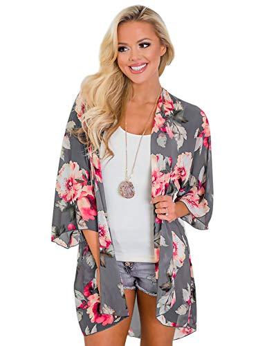 Zexxxy - Kimono de verano en gasa para mujeres, con mangas de 3/4, para la playa, estampado de flores Gris Gris y floral. M