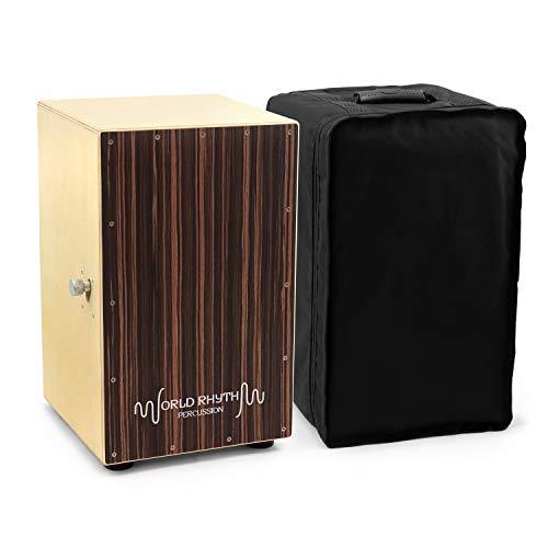 World Rhythm CAJ2-BK Cajon - Full Size Cajon with Adjustable Snare, Padded...