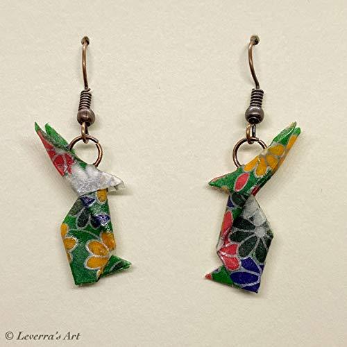 Origami Hasen Usagi Ohrringe, Grün Weiß, Handgemacht