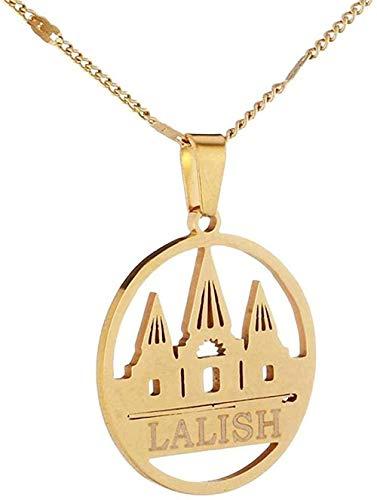 ZGYFJCH Co.,ltd Collar de Moda de Acero Inoxidable Lalish Collares Pendientes Color Dorado Yidi Faith Pilgrim Jewelry