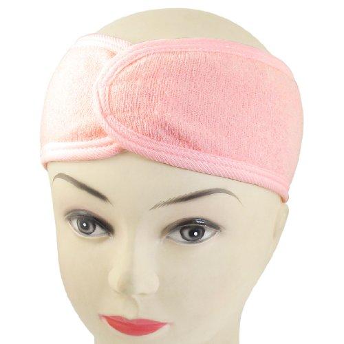 sourcing map Spa Bain Douche Maquillage Laver Visage Cosmetique Tête Bande de cheveux Rose
