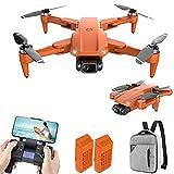 JJDSN Drone con videocamera 4K HD per Adulti, quadricottero RC Pieghevole, droni con Telecomando Ricaricabile, quadricottero con Motore brushless, Video in Diretta FPV, 2 batterie e Zaino