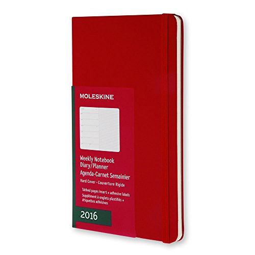 Moleskine 2016 Weekly Notebook, 12M, Large, Scarlet Red, Hard Cover (5 x 8.25)