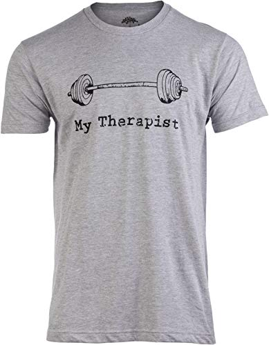 My Therapist (Barbell) | Funny Workout Working Out Weight Lifting Lifter Joke Man T-Shirt-(Adult,XL)