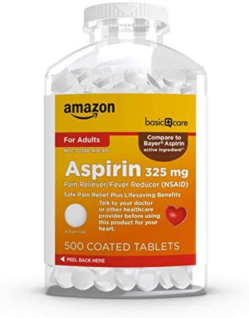 Amazon Basic Care Aspirin 81 mg Pain Reliever (NSAID) Chewable Tablets, Low Dose Aspirin, Orange Flavor, 36 Count