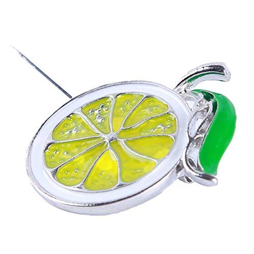 Fliyeong Lovely Alloy Enamel Brooch Lemon Fruit Brooch Women Jewelry Silver Creative and Useful
