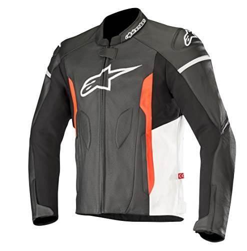 Alpinestars Men's Faster Airflow Leather Street Motorcycle Jacket, Black/White/Red, 56