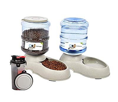 Yizish Automatic Pet Feeder Dispenser Set 3.5L + Pet Water Food Bottle for Outdoor, Pet Food Feeder with Waterer for Dogs Cats Pets Animals from Yizish