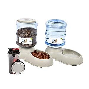 Yizish automático dispensador de Mascotas Juego 3.5l + Botella de Comida de Agua para Mascotas para al Aire Libre, Alimentador de Comida para Mascotas con Bebedero para Perros Gatos Mascotas Animales 5