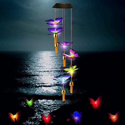 Wind Chimes,Butterfly Solar Wind Chimes for Outside Clearance,Color Changing Wind Bell for Garden Patio Decoration,Gifts for Mom Grandma Friend