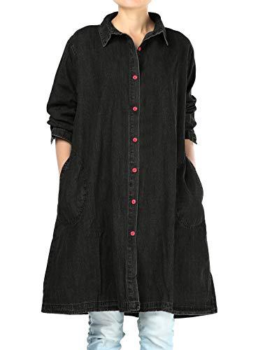 Mallimoda Donna Vestito Camicia Manica Lunga Jeans Maglia Casual Elegante Basic Nero XXL