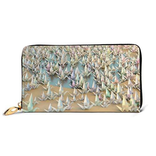 Women Wallet,Cartera Origami Paper Heavy Rain, Cómodos Monederos para Fiestas, Viajes De Negocios,10.5(W) x19(L) x2.5(T) cm