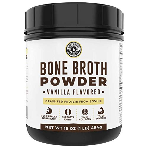 Bone Broth Protein Powder Vanilla 16oz, Grass Fed, Non-GMO, Gut-Friendly, Dairy Free Protein Powder, Left Coast Performance