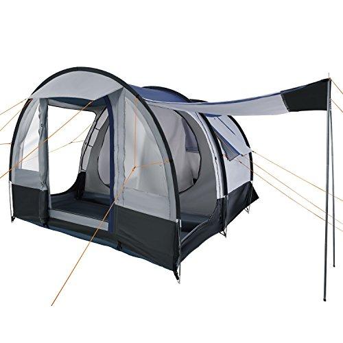 CampFeuer Campingzelt Smart für 4 Personen | Großes Familienzelt mit 3 Eingängen und 2.000 mm Wassersäule | Tunnelzelt | Gruppenzelt (schwarz/blau/grau)