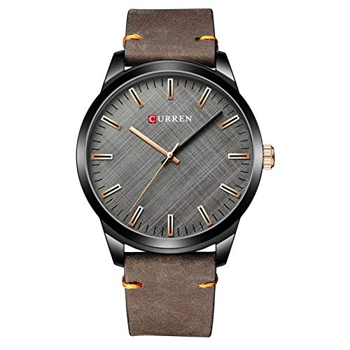 Flytise Reloj de Cuarzo para Hombre Reloj de Pulsera clásico de Moda Masculina 3ATM Relojes Casuales analógicos Impermeables con Correa de Cuero