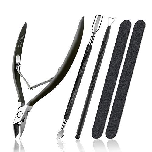 OurTop Pinza de Cutículas con Levantador de Cutícula Removedor, 5PCS Alicate Para Cutículas y Herramienta de cortador de cutículas para las Uñas de Dedos de Manos y Pies