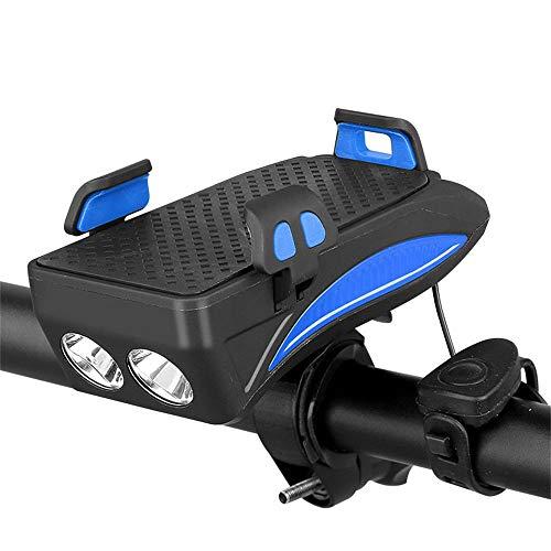 WMN Fahrrad-Frontleuchte, 4 in 1 wiederaufladbare Super Bright 4000mA Handy Power Bank Fahrrad Handyhalterung Halterung mit Hupe (Blau)