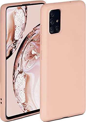 ONEFLOW Soft Hülle kompatibel mit Samsung Galaxy A51 Hülle aus Silikon, erhöhte Kante für Displayschutz, zweilagig, weiche Handyhülle - matt Rosa