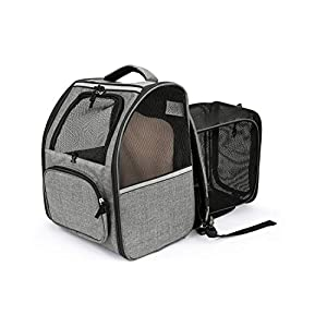 JOYO Cat Carrier Backpack, Pet Carrier Backpack Expandable with Safety Clip Breathable Mesh Pockets Two-Sided Entry Designed for Hiking Ttravel Camping for Cats and Puppies, Small Dogs Under 18lb