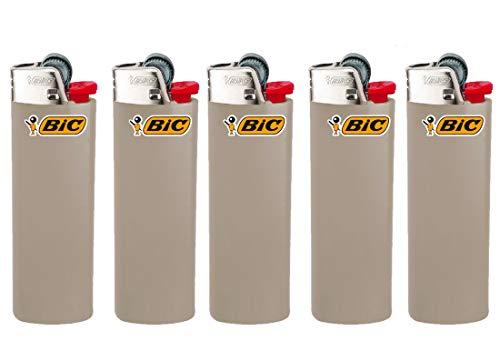 All u need BIC Maxi Feuerzeuge Reibrad Lighter Neutral Flints Zündstein J26 5 Stück + Keyring Flaschenöffner (Grau)