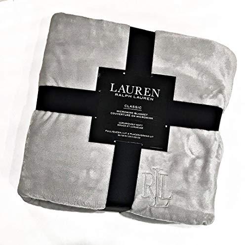 Ralph Lauren Classic Full/Queen Light Grey Micromink Plush Bed Blanket