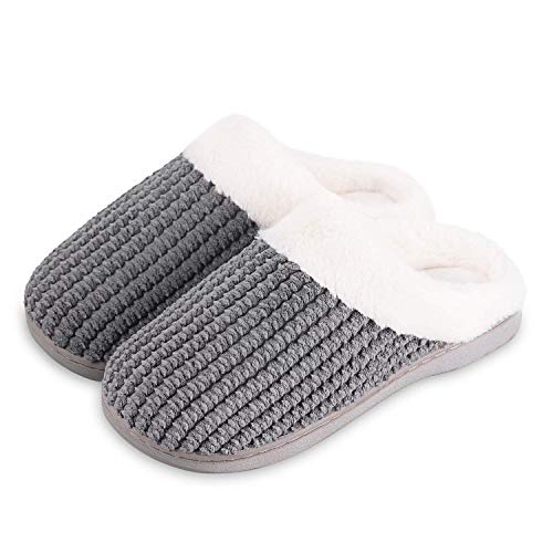 Mabove Hausschuhe Damen Winter Wärme Bequem Plüsch Pantoffeln Indoor Home rutschfeste Kuschelig Weite Leicht Slippers(Dunkel Grau,42/43 EU)