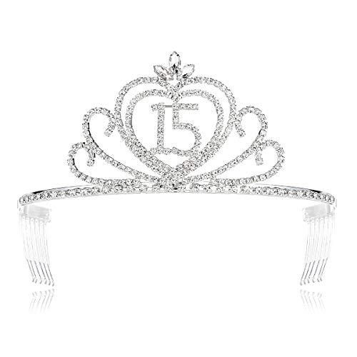 DcZeRong Girls 15 Birthday Tiara Crowns Quinceanera Princess 15th Birthday Rhinestone Tiara Crown