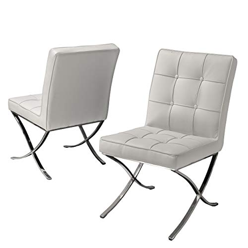Christopher Knight Home 216324 Milania Leather Dining Chairs, 2-Pcs Set, White
