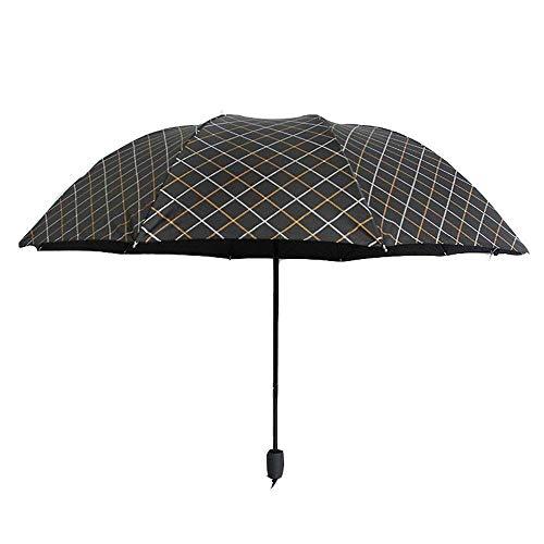 YNHNI Paraguas, paraguas doble de gran tamaño, paraguas de verano al aire libre, paraguas a cuadros elegante, paraguas de regalo de negocios, paraguas, paraguas, paraguas, portátil (color: A)