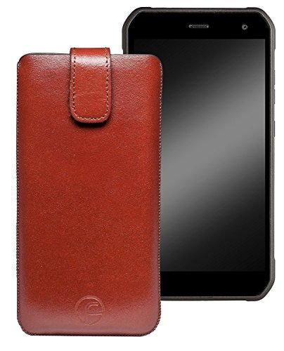 Favory Original Etui Tasche für Cyrus CS28 Leder Etui Handytasche Ledertasche Schutzhülle Hülle Hülle Lasche mit Rückzugfunktion* in Braun