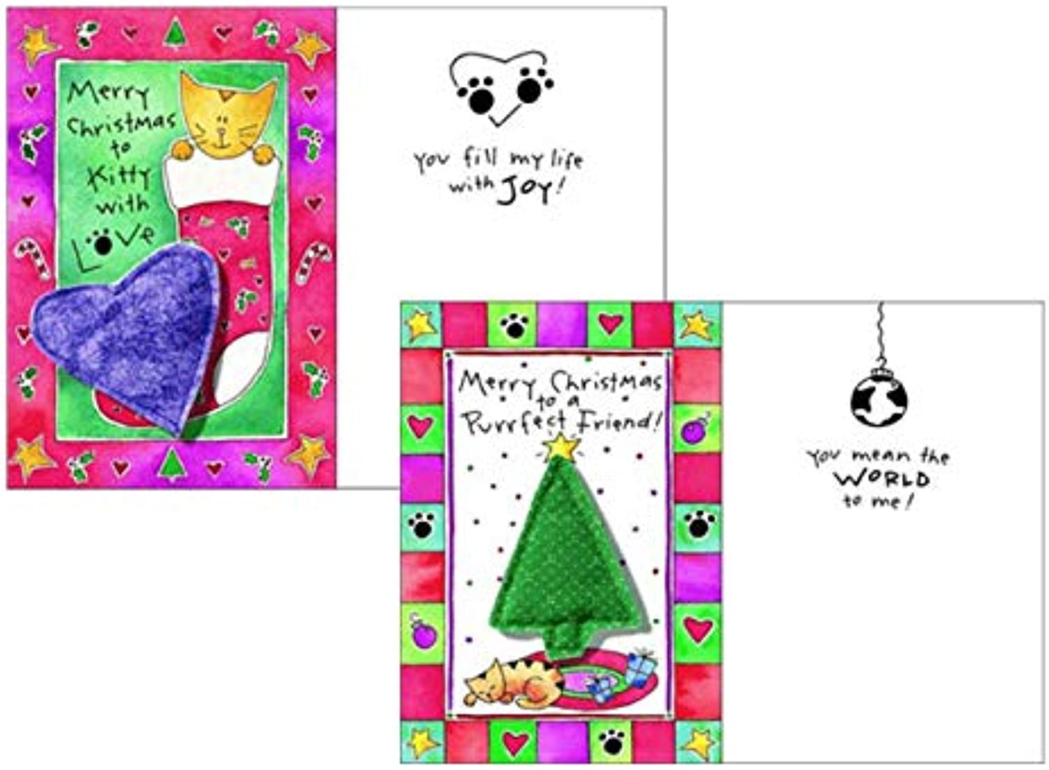 Crunchkins PurrFECT Greetings Christmas Card with Catnip Toy, 2 Pack