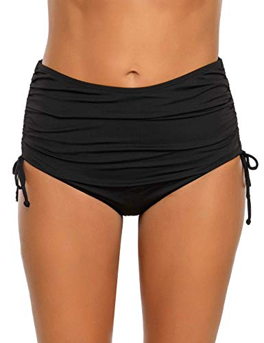 luvamia Women's Solid Ruched High Waisted Bikini Tankini Swimsuit Bottoms Side Tie Swim Brief Black Size Medium (Fits US 8-10)