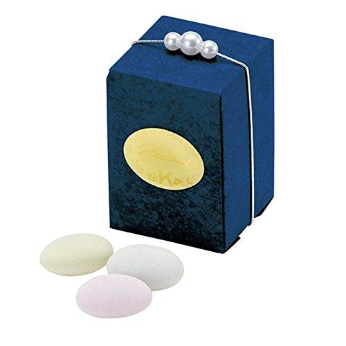 《マルガリーテース・ブルー》ドラジェ3粒入りパール付きボックス型プチギフト(1個)【結婚式 ホワイトデー】