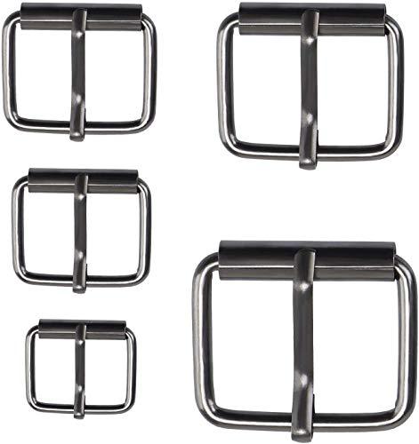 Coolty 75 STKS Metalen Roller Gespen Multi Purpose Riemen Hardware Pin Gesp voor Tassen Lederen Riem Hand DIY Accessoires, 13mm/16mm/20mm/25mm/32mm Geweer