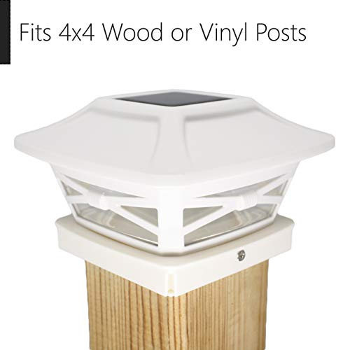 Davinci Renaissance Solar Post Cap Lights - Outdoor Lighting for 4x4 Wooden and Vinyl Posts - Bright Warm White LEDs - Pearl White (4 Pack)