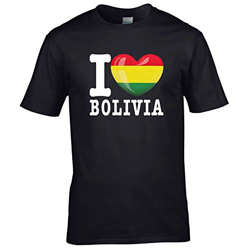 FanShirts4u Kinder T-Shirt - I Love BOLIVIEN/Bolivia - WM Trikot Liebe Herz Heart (3/4 Jahre 98-104 cm, I Love Bolivia - Schwarz)