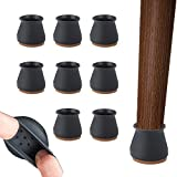 Silicone Chair Legs Floor Protectors Caps - 24Pcs Furniture Silicon Protection Cover with Felt Pad - Bottom Chair Pads for Round Furniture Table Feet Black
