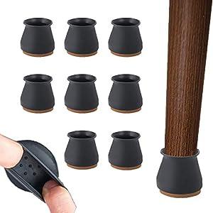 Protectores de suelo de silicona para silla – 24 protectores para patas de silla con almohadillas de fieltro – Cubierta de protección de silicio para muebles antideslizante