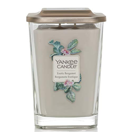 Yankee Candle Elevation Collection with Platform Lid Large Two Wick Square Scented Candle, Exotic Bergamont