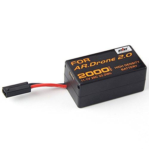 Jian Ya Na Alta Densidad 2000mAh 11.1V poderoso reemplazo Li-polímero de litio para Parrot AR.Drone 2.0 QuadCopter Actualiza potente batería Envase de 1 Negro