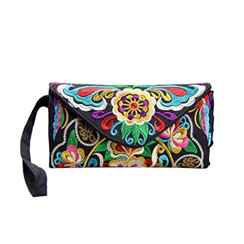 Fenical Brieftasche ethnische Stickerei Armband Geldbörse handgemachte Blume Canvas Handtasche (zufällig)