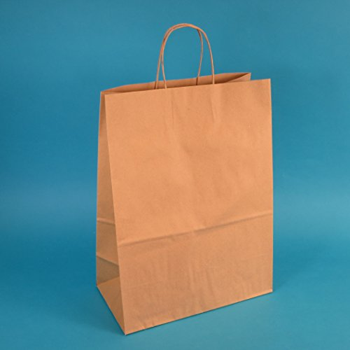 200 Papiertragetaschen 22+10x36cm mit Kordel braun Papiertüten Einkaufstüten Tragetaschen 90/m² Papier