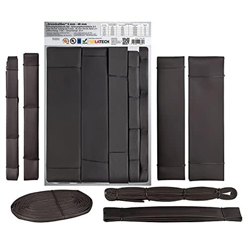 Surtido de mangueras tubos termoretráctiles con los tamaños grandes de 5 mm a 40 mm de diámetro. Ratio de retracción 2:1 Negro (total 20 metros)