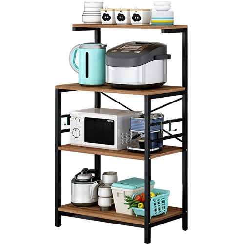Bakers Rack for Kitchen,4-Tier Kitchen Storage Shelf Rack,Microwave Cart Coffee Bar Microwave Stand...