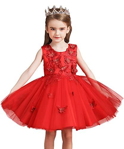 WOCINL - Abito da principessa con fiori ricamati in tulle e farfalle, ideale per matrimoni, feste di compleanno, comunione, concorso, sera, danza Rosso 5-6 Anni