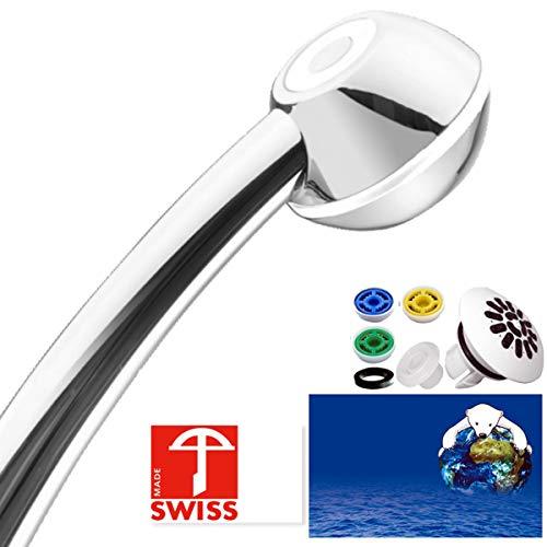 Duschkopf SwissClima I-SHOWER TOP! Kräftig für mehr Druck, zB Durchlauferhitzer und weniger Wasser: verkalkungsfreie Handbrause, Regenstrahl-Aufsatz, 3 Reduzierer, SwissMade