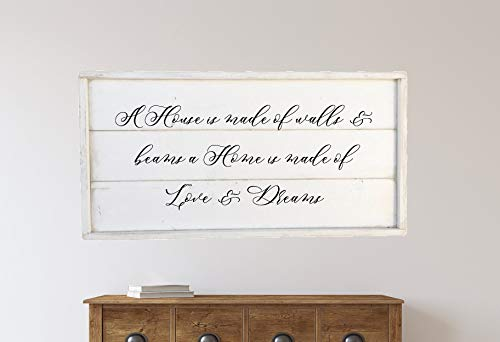 Unknow Panneau en Bois encadré A House is Made of Walls and Beams a Home is Made of Love and Dreams